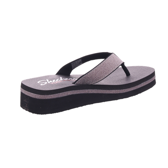 SKECHERS Damen Pantolette Sandalen Hausschuhe schwarz 31605 BLK