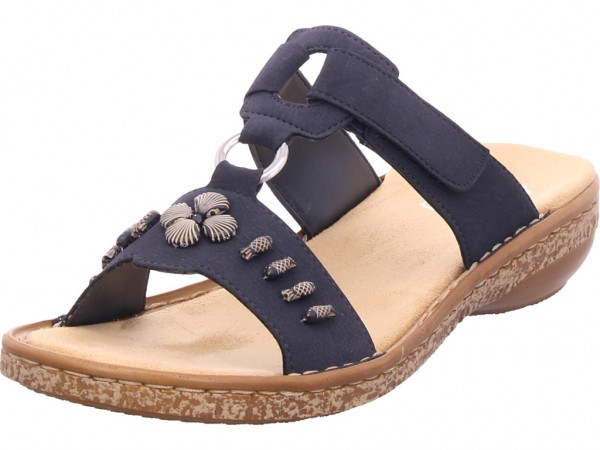 Rieker Damen Pantolette Sandalen Hausschuhe blau 62891-14