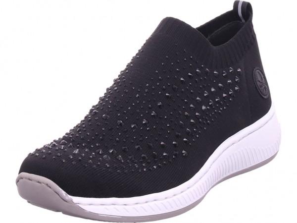 Rieker Damen Sneaker Slipper Ballerina sportlich zum schlüpfen schwarz N5532-00