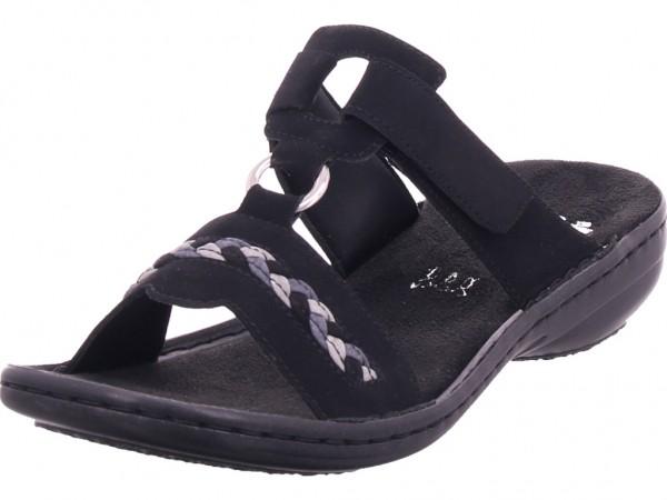 Rieker Damen Pantolette Sandalen Hausschuhe schwarz 60888-00