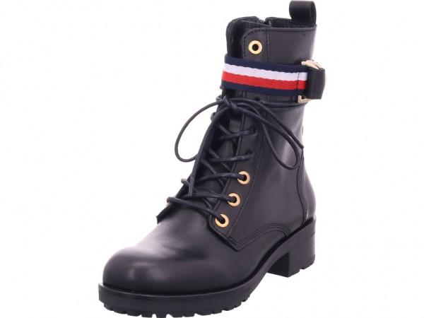 Tommy Hilfiger Damen Stiefel Schnürer Boots Stiefelette zum schnüren schwarz FW0FW04326