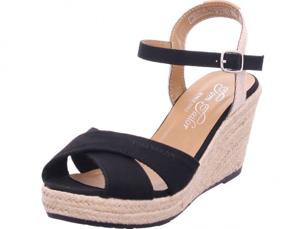 Tom Tailor Damen Sandale Sandalette Sommerschuhe schwarz 8090101