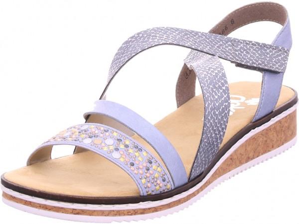 Rieker Damen Sandale Sandalette Sommerschuhe blau V3663-10