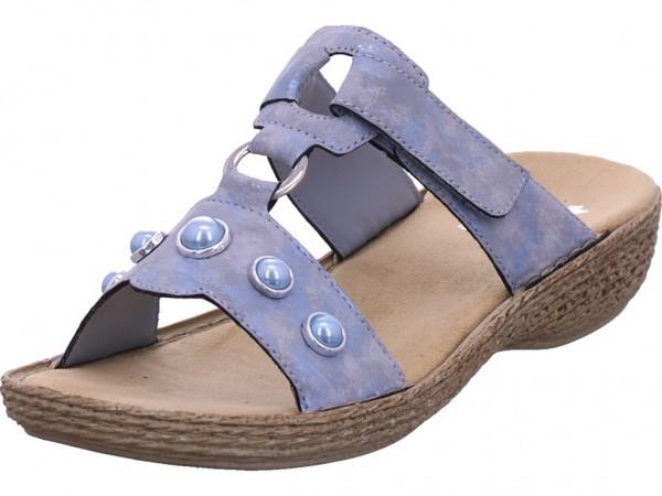 Rieker Damen Pantolette Sandalen Hausschuhe blau 658P1-12