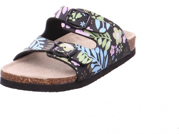 Quick-Schuh Tieffussbett Mädchen Pantolette Sandalen Hausschuhe schwarz 1003606/0