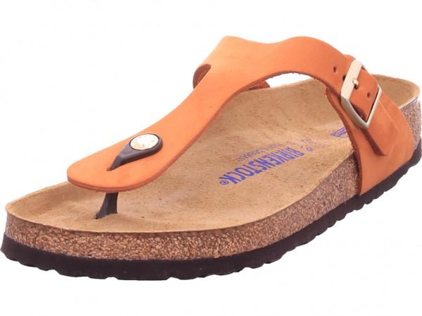 Birkenstock Gizeh SFB Nubuck Pecan Damen Pantolette Sandalen Hausschuhe Clogs Slipper rot 1019012