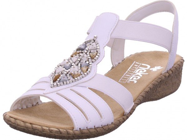 Rieker Damen Sandale Sandalette Sommerschuhe weiß 61661-80