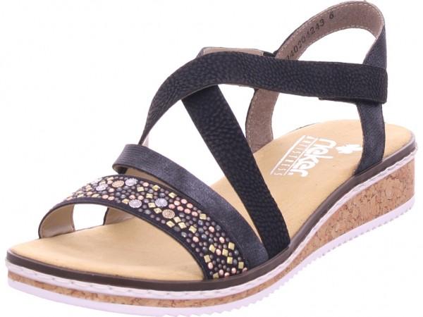 Rieker Damen Sandale Sandalette Sommerschuhe schwarz V3663-00