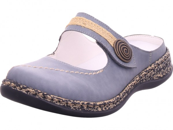 Rieker Damen Pantolette Sandalen Hausschuhe Clogs Slipper blau 46391-14
