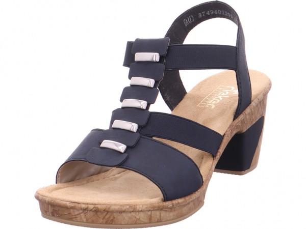 Rieker Damen Sandale Sandalette Sommerschuhe blau 6979214