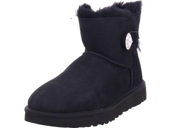 UGG Mini Bailey Button Bling BLK Damen Stiefel Schnürstiefel warm sportlich Boots schwarz 1016554 BLK