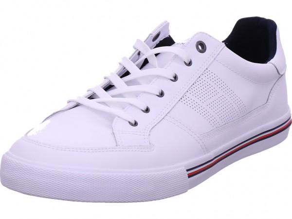 Tommy Hilfiger Core Corporate Leather Sneaker Herren Schnürschuh Halbschuh sportlich Sneaker weiß FM0FM03393