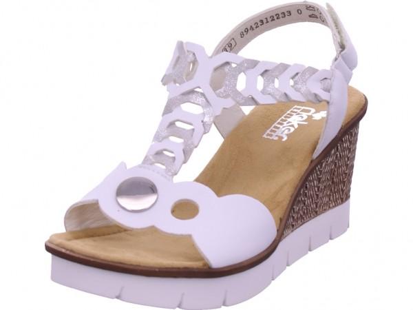 Rieker Damen Sandale Sandalette Sommerschuhe weiß 655H4-80