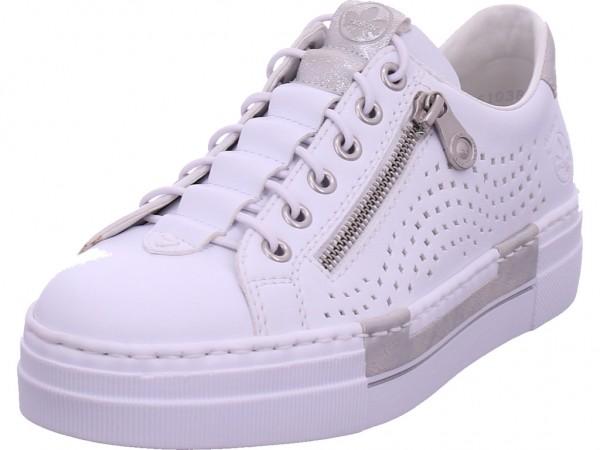Rieker Damen Sneaker Slipper Ballerina sportlich zum schlüpfen weiß N4956-81