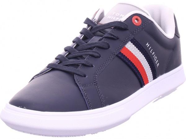 Tommy Hilfiger Essential Leather Cupsole Herren Schnürschuh Halbschuh sportlich Sneaker blau FM0FM03424