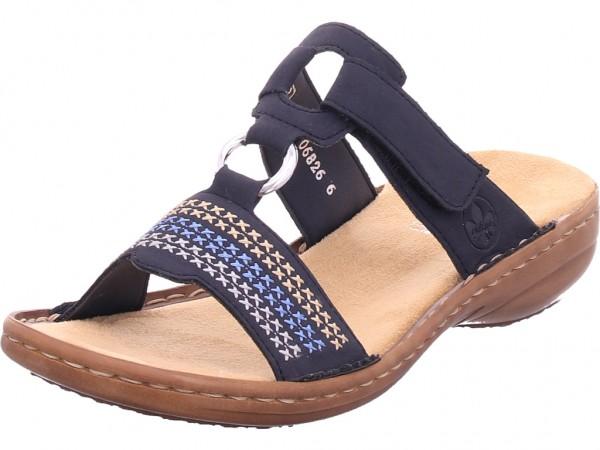 Rieker Damen Pantolette Sandalen Hausschuhe Clogs Slipper blau 608K8-14