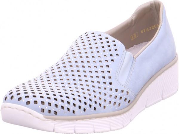 Rieker Damen Slipper gelocht oder geflochten blau 537A6-10