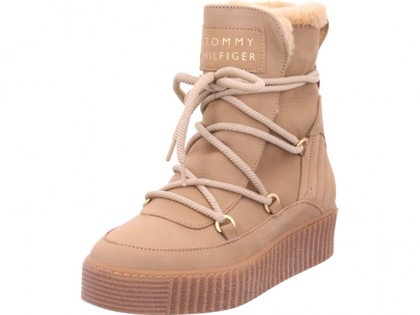 Tommy Hilfiger Damen Winter Stiefel Boots Stiefelette warm Schnürer beige FW0FW04401 - Cosy Bootie GEZ T