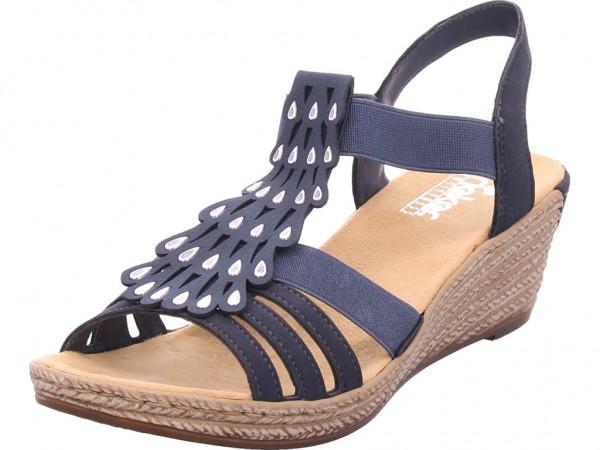 Rieker Damen Sandale Sandalette blau 62436-14
