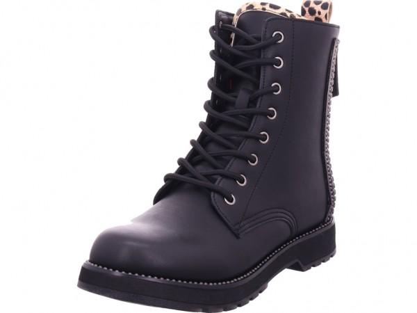 cafenoir Damen Stiefel Schnürer Boots Stiefelette zum schnüren schwarz FA907