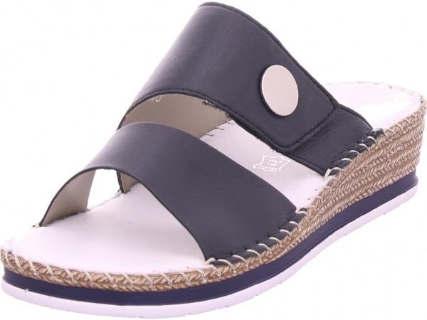 Rieker Damen Pantolette Sandalen Hausschuhe Clogs Slipper blau V6094-14