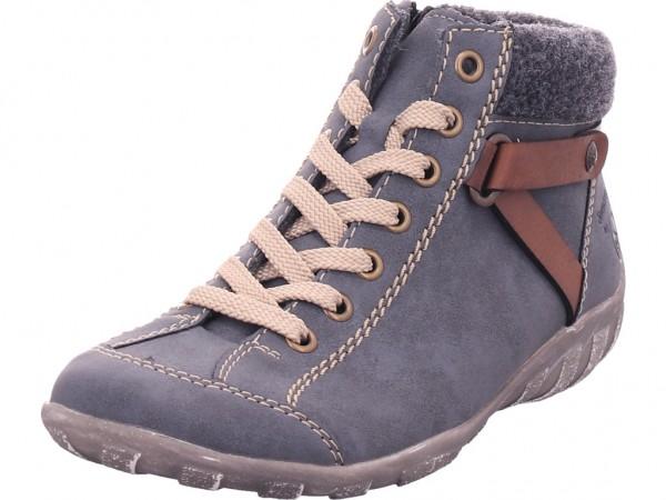 Rieker Damen Winter Stiefel Boots Stiefelette warm Schnürer blau L6527-14