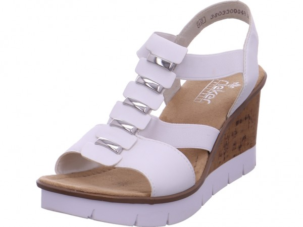 Rieker Damen Sandale Sandalette Sommerschuhe weiß V5545-80