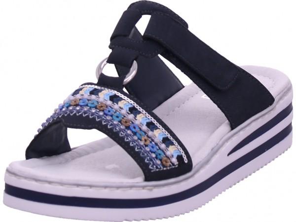 Rieker Damen Pantolette Sandalen Hausschuhe Clogs Slipper blau V02M6-14