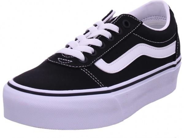 Vans WM Ward Platform,(Canvas) Blac Unisex - Erwachsene Halbschuh Sneaker Sport Schnürer zum schnüren schwarz VN0A3TLC1871