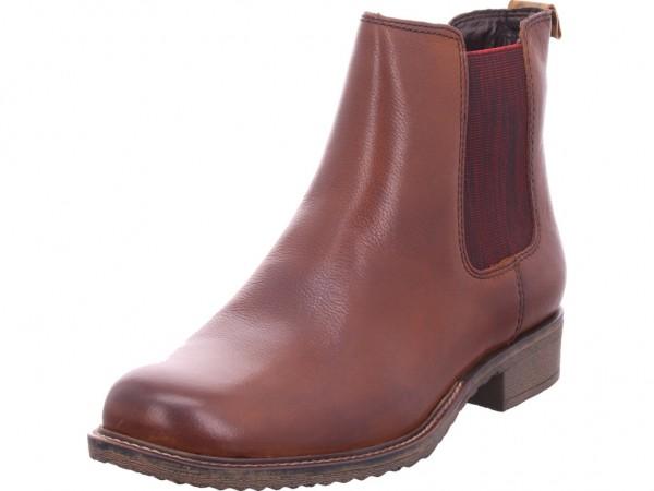 Tamaris Damen Stiefeletten Chealsea 25422 23 Leder Boots Leo-Einsatz Cognac