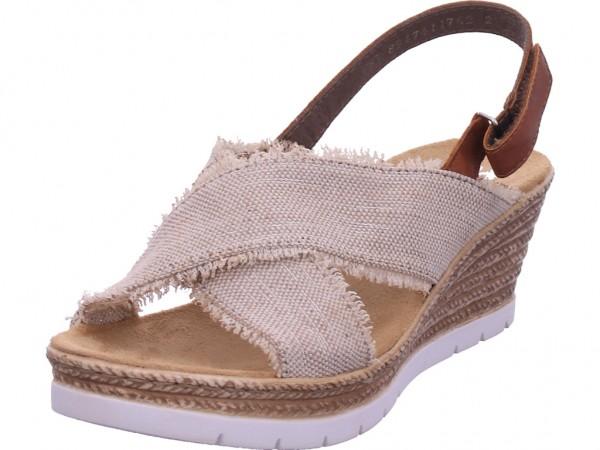 Rieker Damen Sandale Sandalette Sommerschuhe beige 61935-60