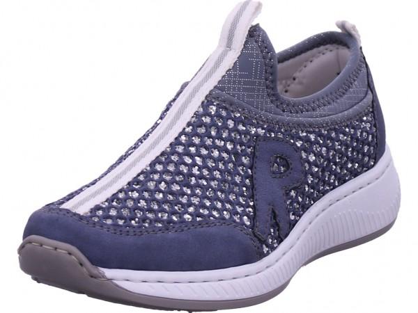 Rieker Damen Sneaker Slipper Ballerina sportlich zum schlüpfen blau N5554-15