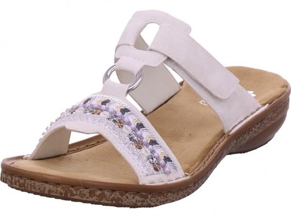 Rieker Damen Pantolette Sandalen Hausschuhe weiß 628M6-80
