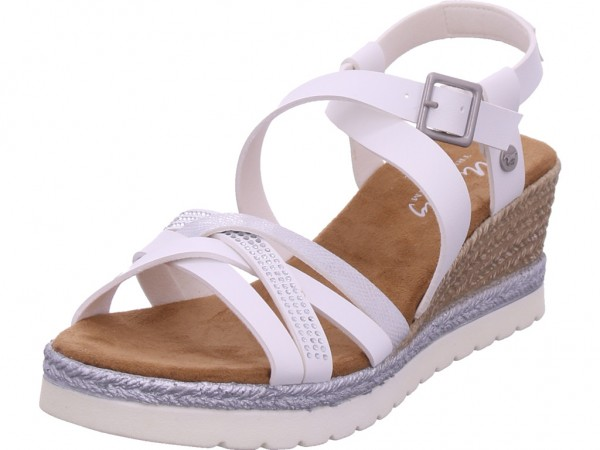 Mustang Damen Sandale Sandalette Sommerschuhe weiß 1317803-1
