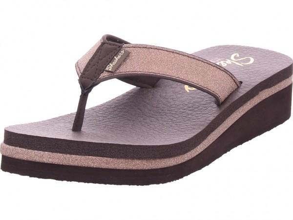 SKECHERS Damen Pantolette Sandalen Hausschuhe braun 31605 CHOC