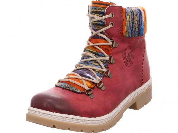 Rieker Damen Winter Stiefel Boots Stiefelette warm Schnürer rot Y943235