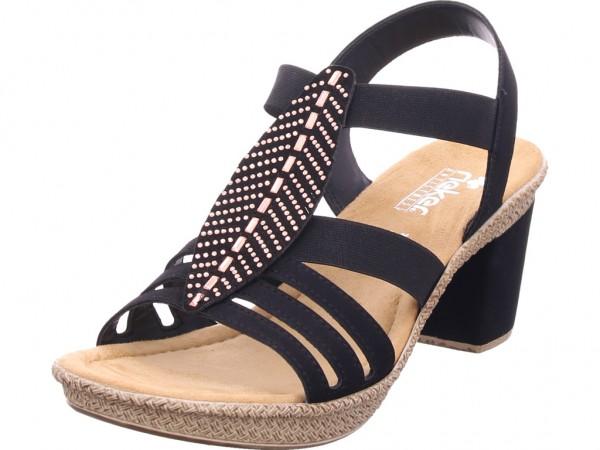 Rieker Damen Sandale Sandalette Sommerschuhe schwarz 66526-00