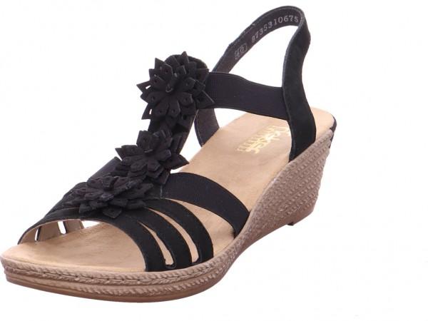 Rieker Damen Sandale Sandalette Sommerschuhe schwarz 62461-00