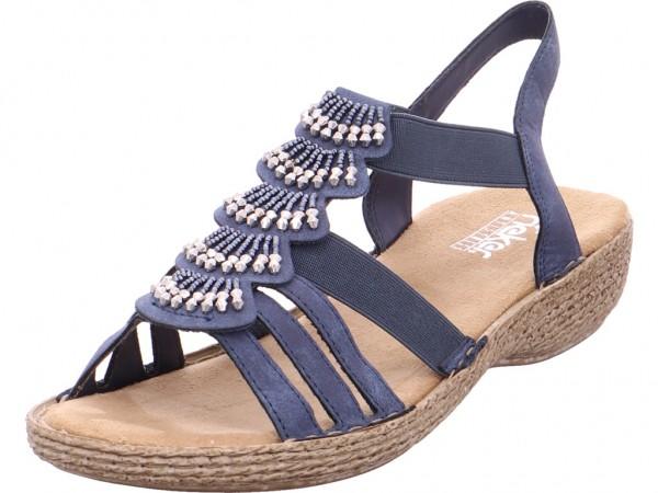 Rieker Damen Sandale Sandalette Sommerschuhe blau 65869-14