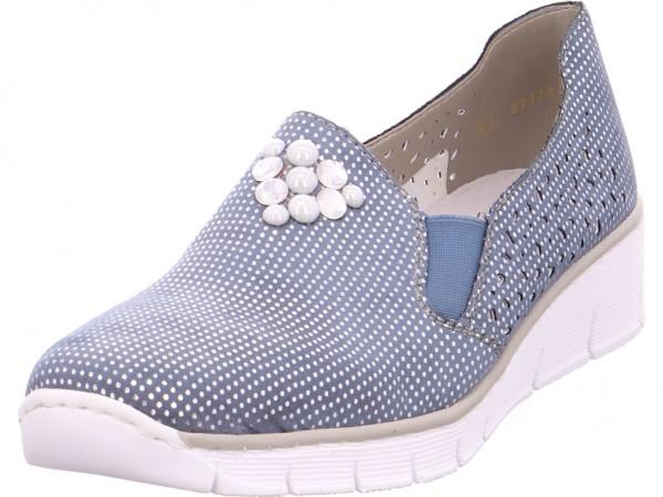 Rieker Damen Slipper gelocht oder geflochten blau 537Y5-12